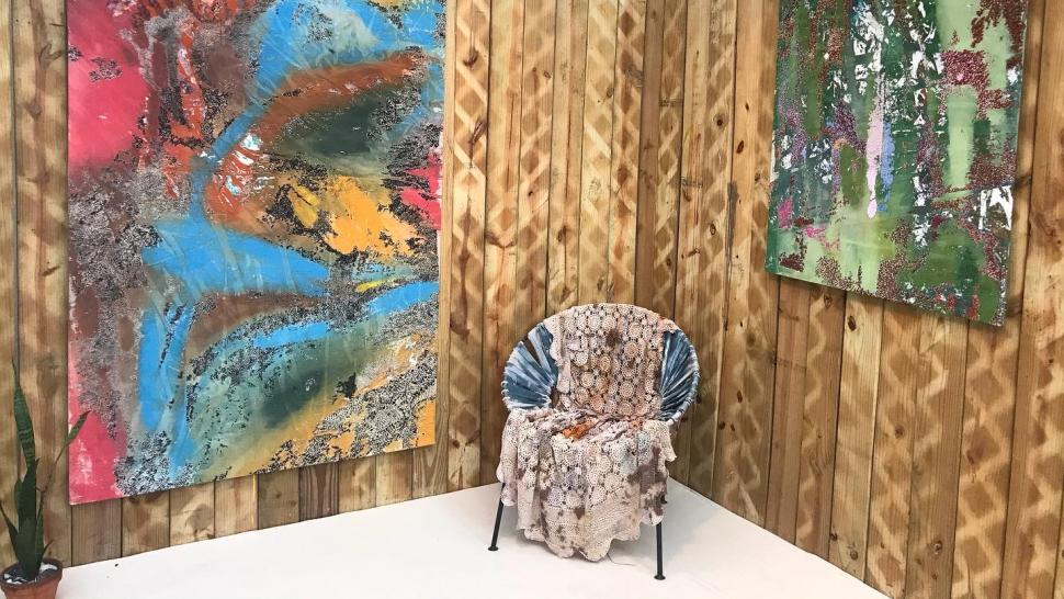 Gallery view of textiles by Cassandra Mayela and paintings by Basie Allen